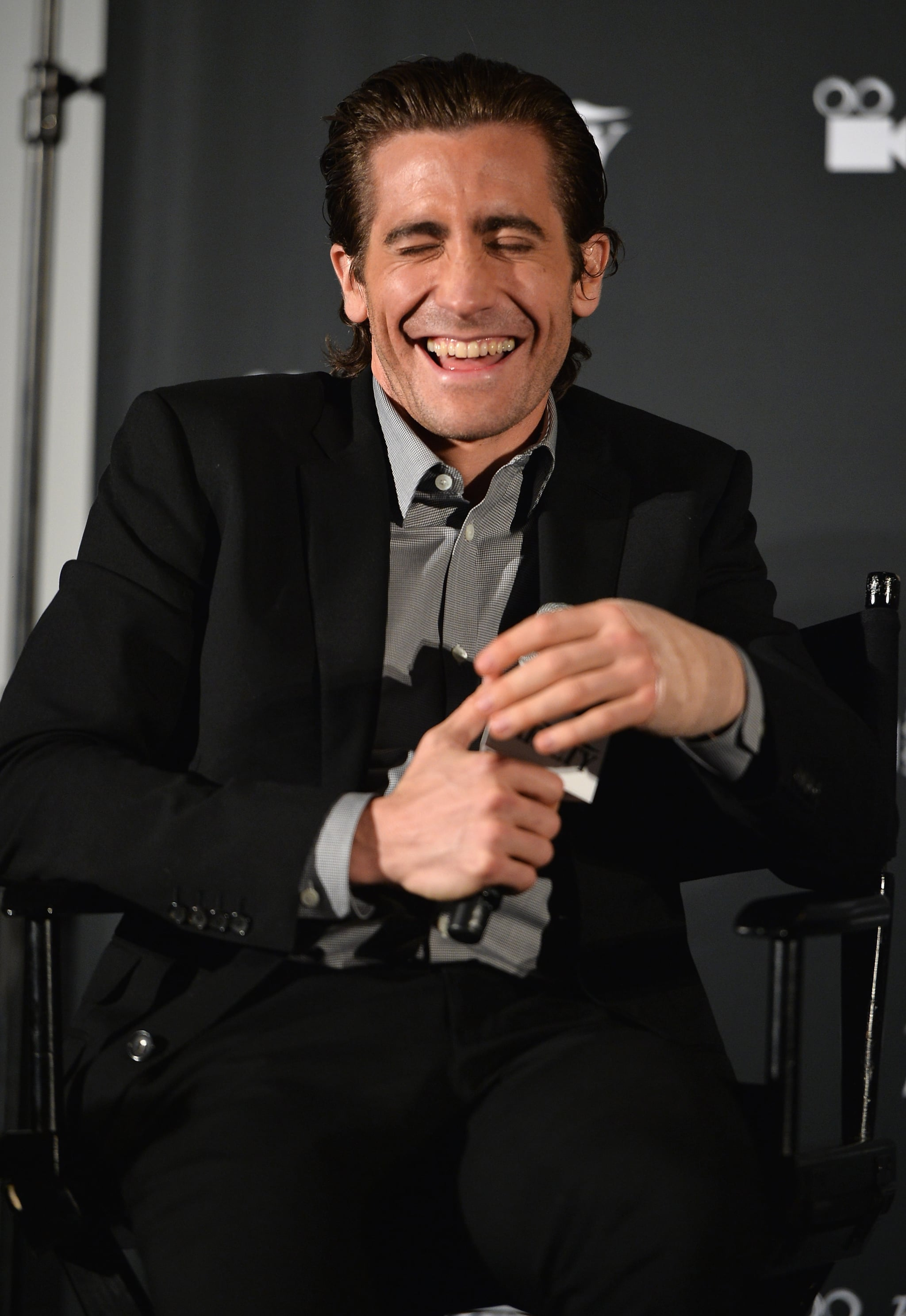 He couldn't stop laughing during a screening of Prisoners in Hollywood in November 2013.