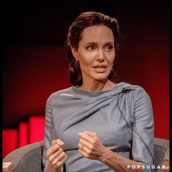 Angelina Jolie Wearing a Gray Dress May 2016
