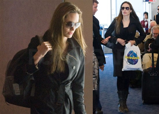 Photos of Angelina Jolie Arriving at LAX From Haiti