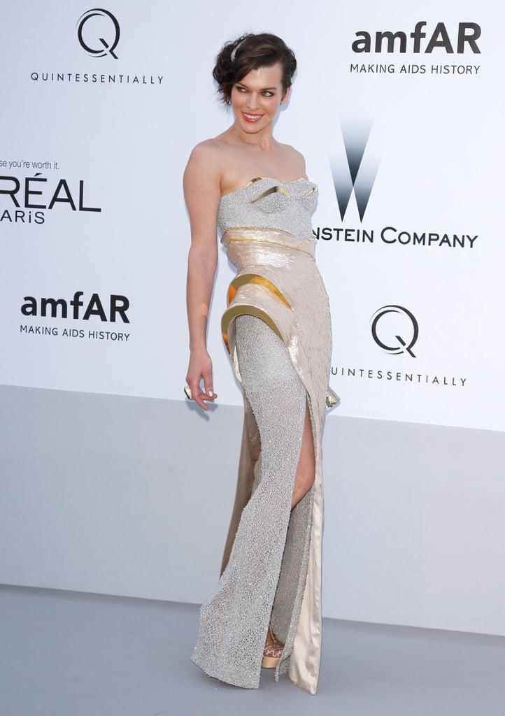Milla Jovovich wore Versace to the amfAR Cinema Against AIDS gala.