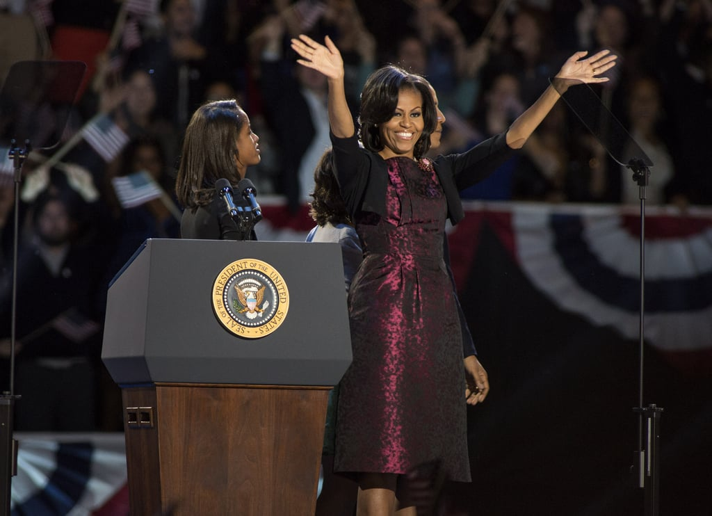 Michelle Obama wearing a Michael Kors dress on election night in 2012.