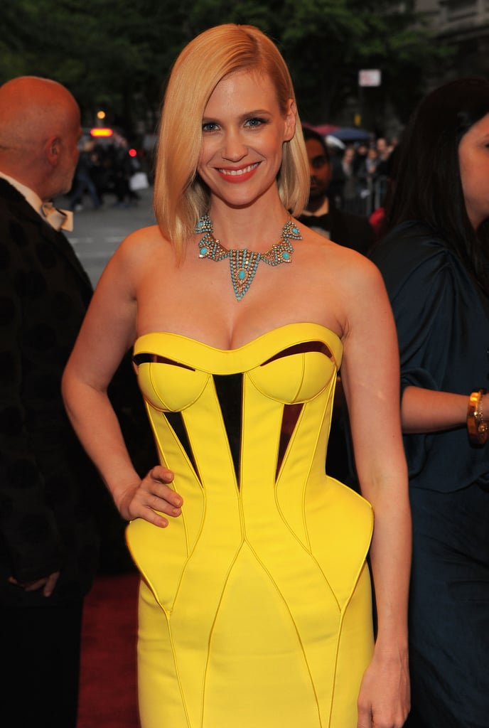 January Jones wore hot yellow Versace.