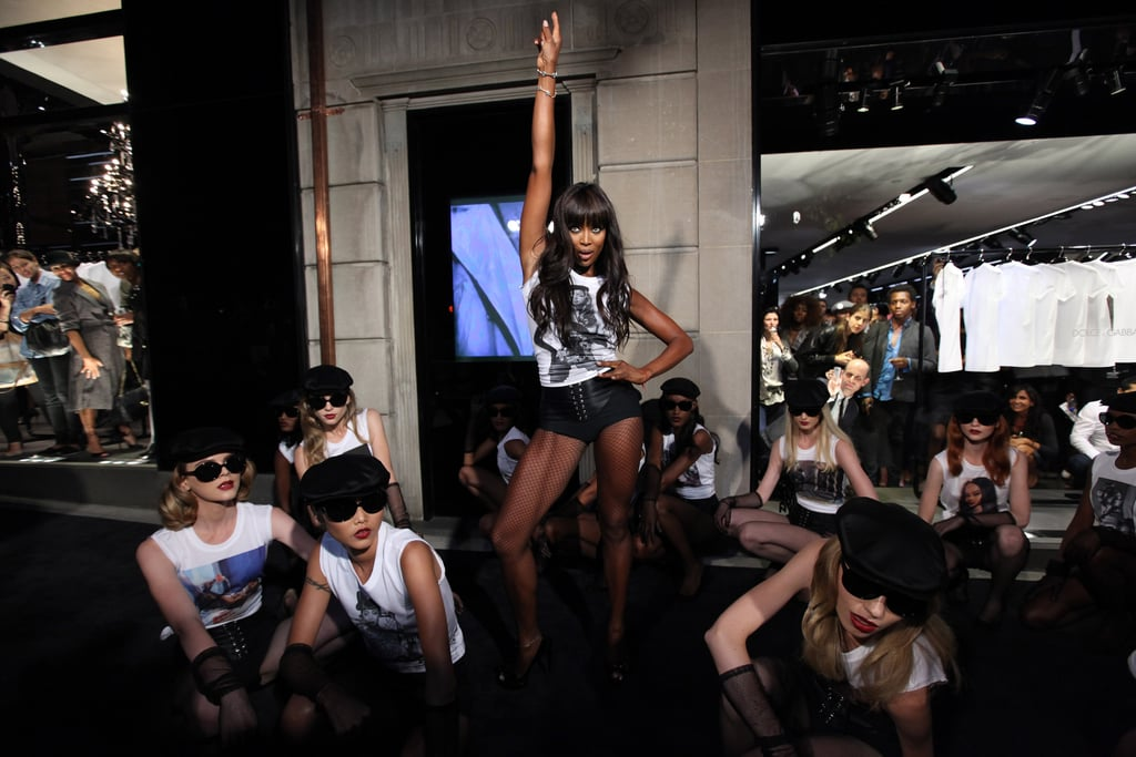 Naomi Campbell performed a routine as part of the Dolce & Gabbana celebration in 2010.