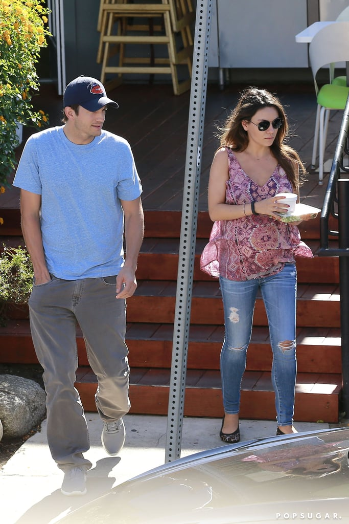 Mila Kunis and Ashton Kutcher went to lunch in LA on Monday.