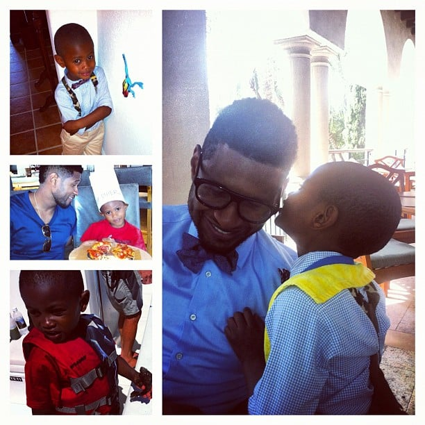 The doting dad shared a group of adorable photos of Usher V and Naviyd on Father's Day in June 2012. Source: Instagram user howuseeit
