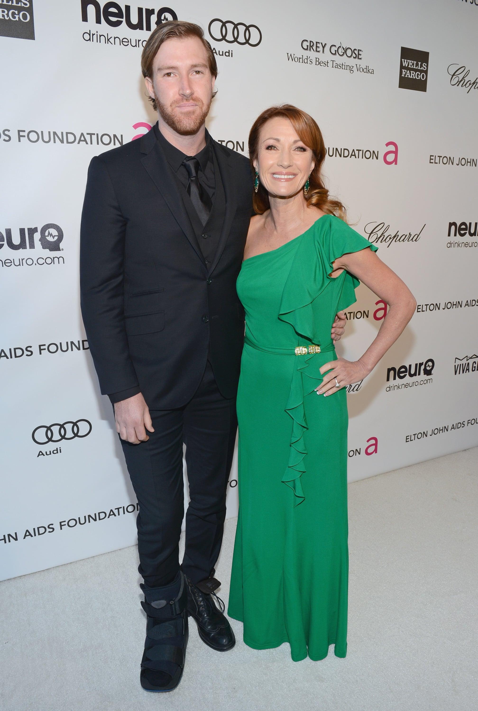 Jane Seymour and Sean Flynn attended Elton John's Oscar viewing party in LA.