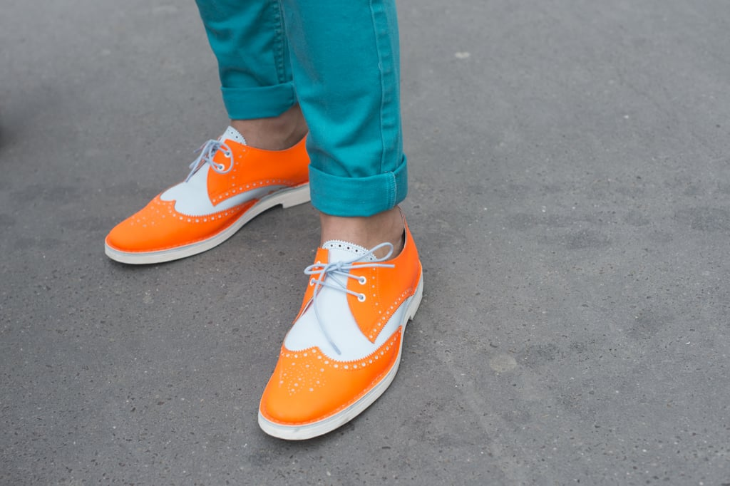 Neon brogues lit up this look.