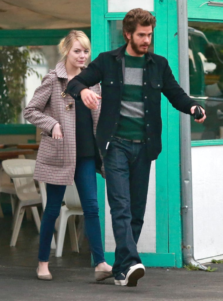 Andrew Garfield sported a beard while out for lunch with Emma Stone.