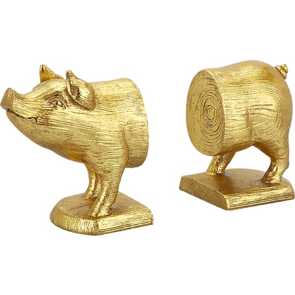 CB2 Gold Pig Bookends