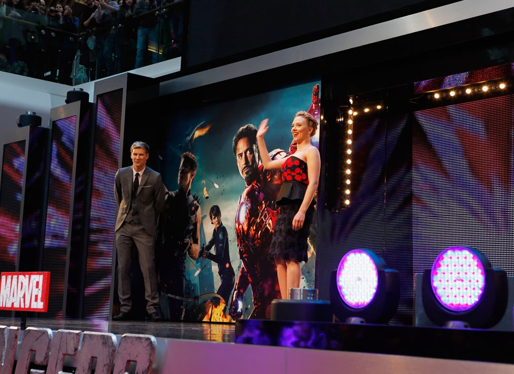 Scarlett Johansson greeted her fans from the stage at the premiere of The Avengers in London.