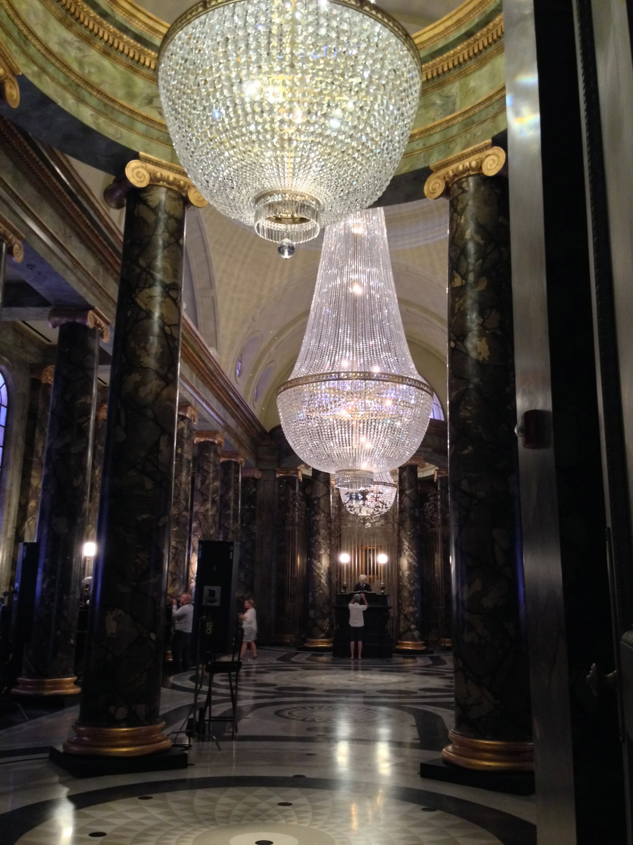The lobby in Gringotts Bank is impressive, and it's where you enter for the Escape From Gringotts ride.