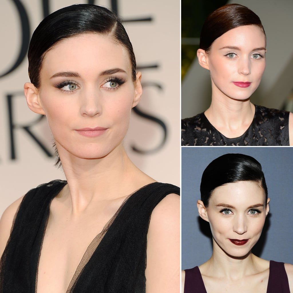 Who: Rooney Mara The look: Side-slicked ponytails, usually with a deep side part on the left If you've got striking facial features like Rooney, this typically unforgiving hairstyle can accentuate them in a gorgeously flattering way. Rooney usually pairs her hairstyle with bold brows and a heavily pigmented lipstick hue.