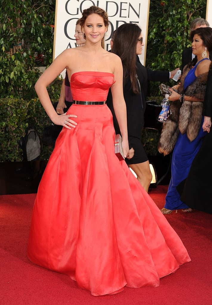 Jennifer Lawrence's red Christian Dior Fall 2012 Couture gown was one of the standouts at the 2013 Golden Globe Awards. The metallic belt provided the perfect finish.