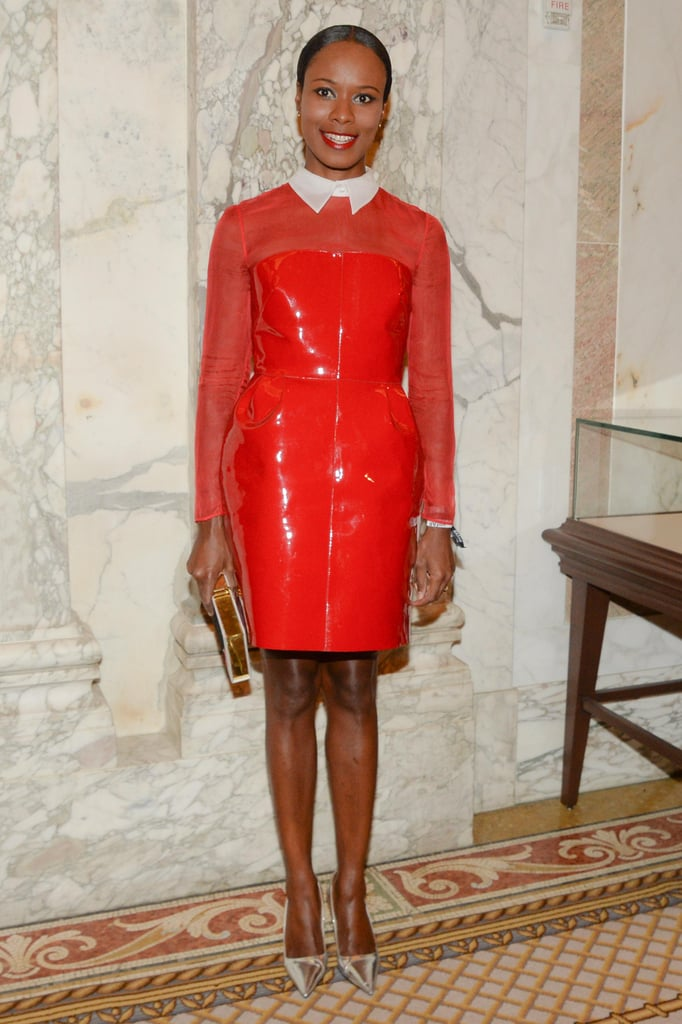 Shala Monroque looked chic in a candy-apple red patent minidress and pointed-toe heels. Source: Matteo Prandoni/BFAnyc.com