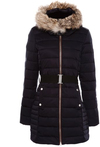 Coat With Fake Leather Trim