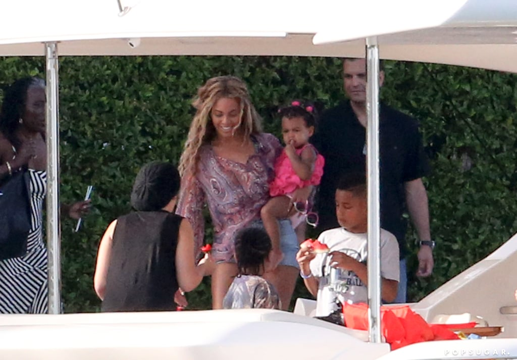 Beyoncé Knowles smiled while holding Blue Carter in Miami.