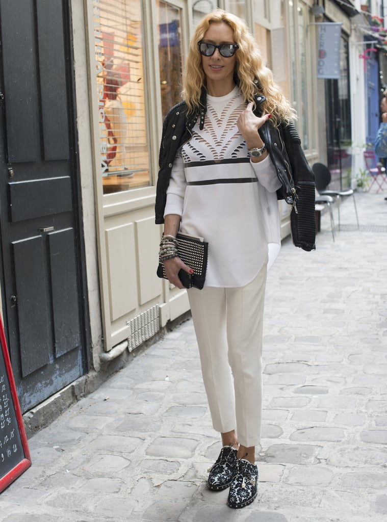 A classic white blouse is attention-worthy with cutouts and slashes.