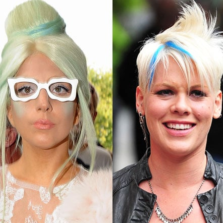 Lady Gaga and Pink Wear Blue Hair Extensions