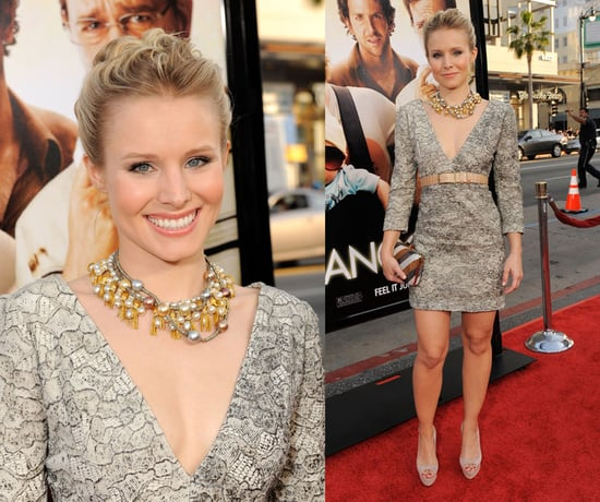 Kristen Bell Attends the LA Premiere of The Hangover in V-Neck Brian Reyes Dress