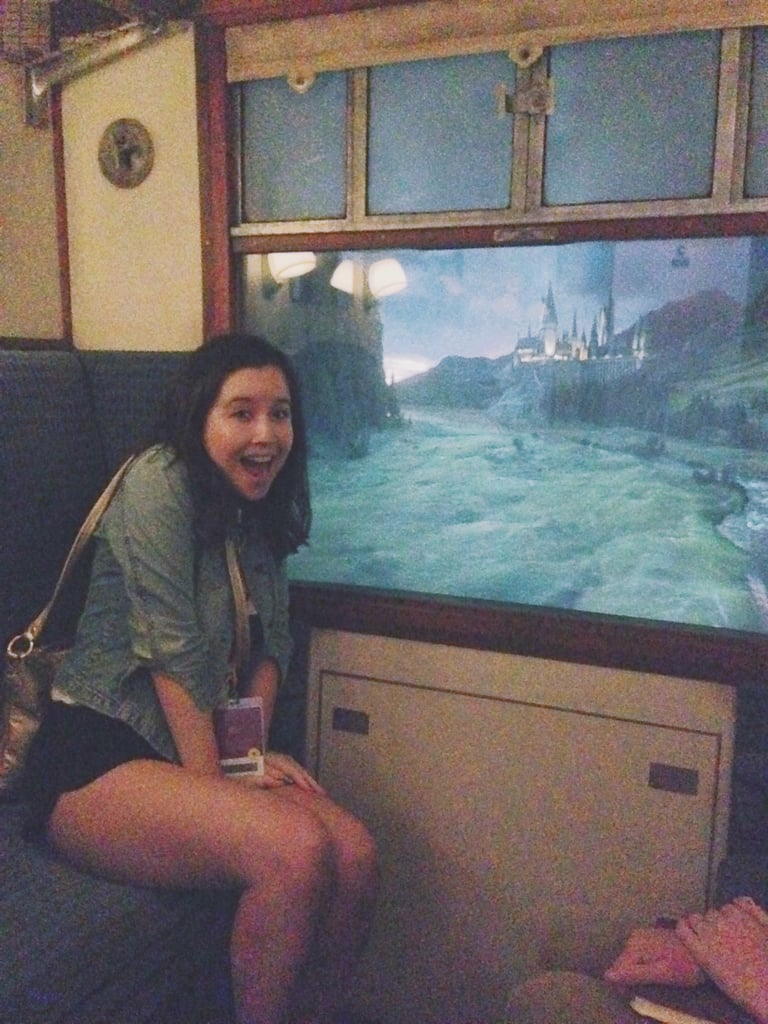 They even shipped in the actual fabric used for the movie for the seating on the train. As you take the train, you see a screen where the window is that shows London to Hogwarts one direction, then a totally different video from Hogwarts to London the other way.