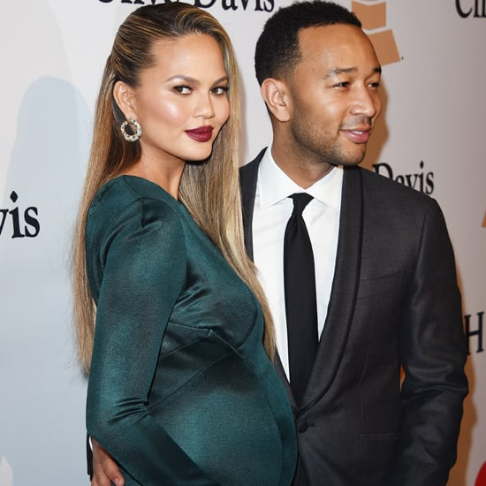 Chrissy Teigen Wearing a Teal Dress at Pre-Grammys Party
