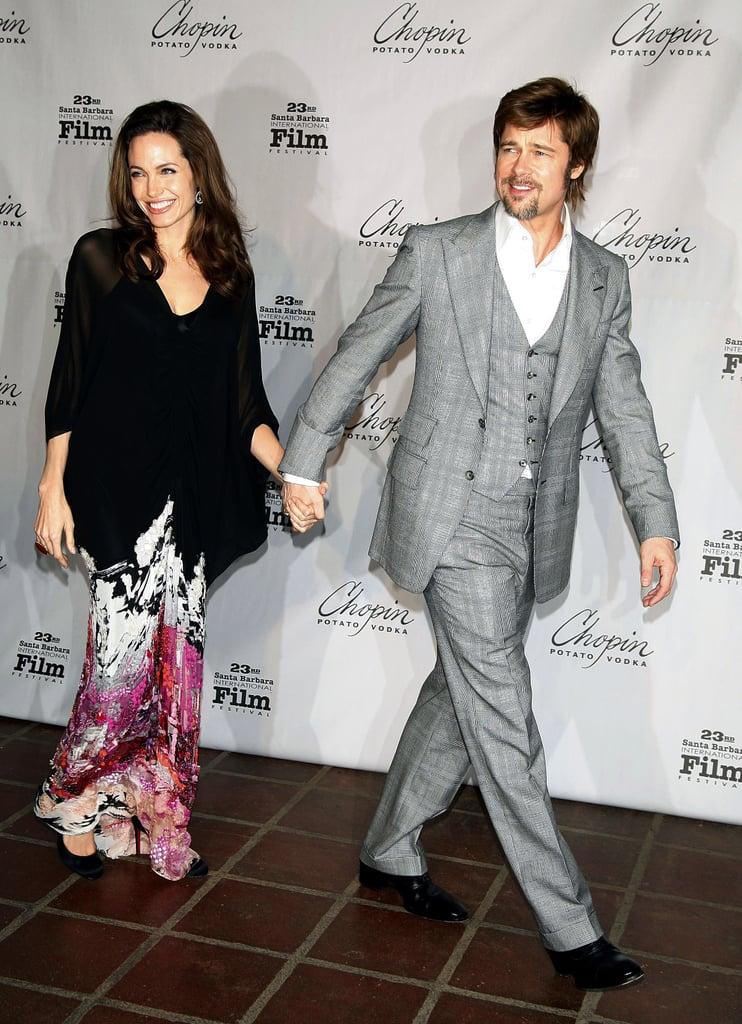 Brad Pitt led the way for Angelina Jolie at the 2008 Santa Barbara International Film Festival.