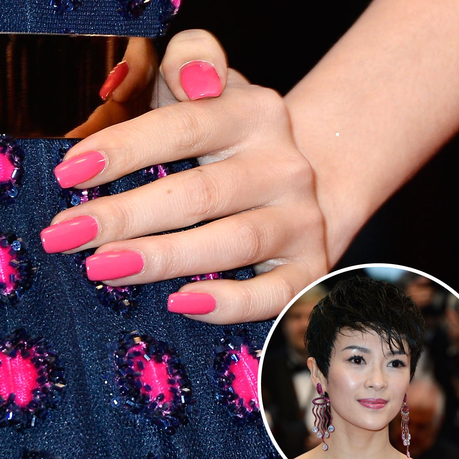 Zhang Ziyi applied a pop of hot-pink lacquer to her extralong square-shaped nails.