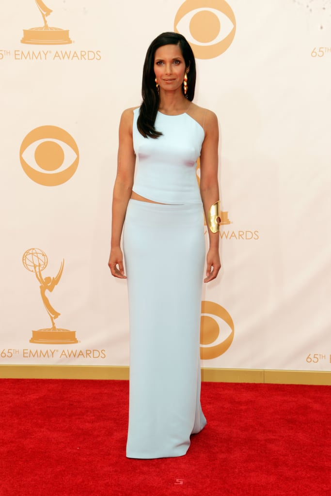 A sleek column gown by Kaufman Franco was Padma Lakshmi's pick. She kept her jewellery simple with a large Robert Lee Morris cuff.