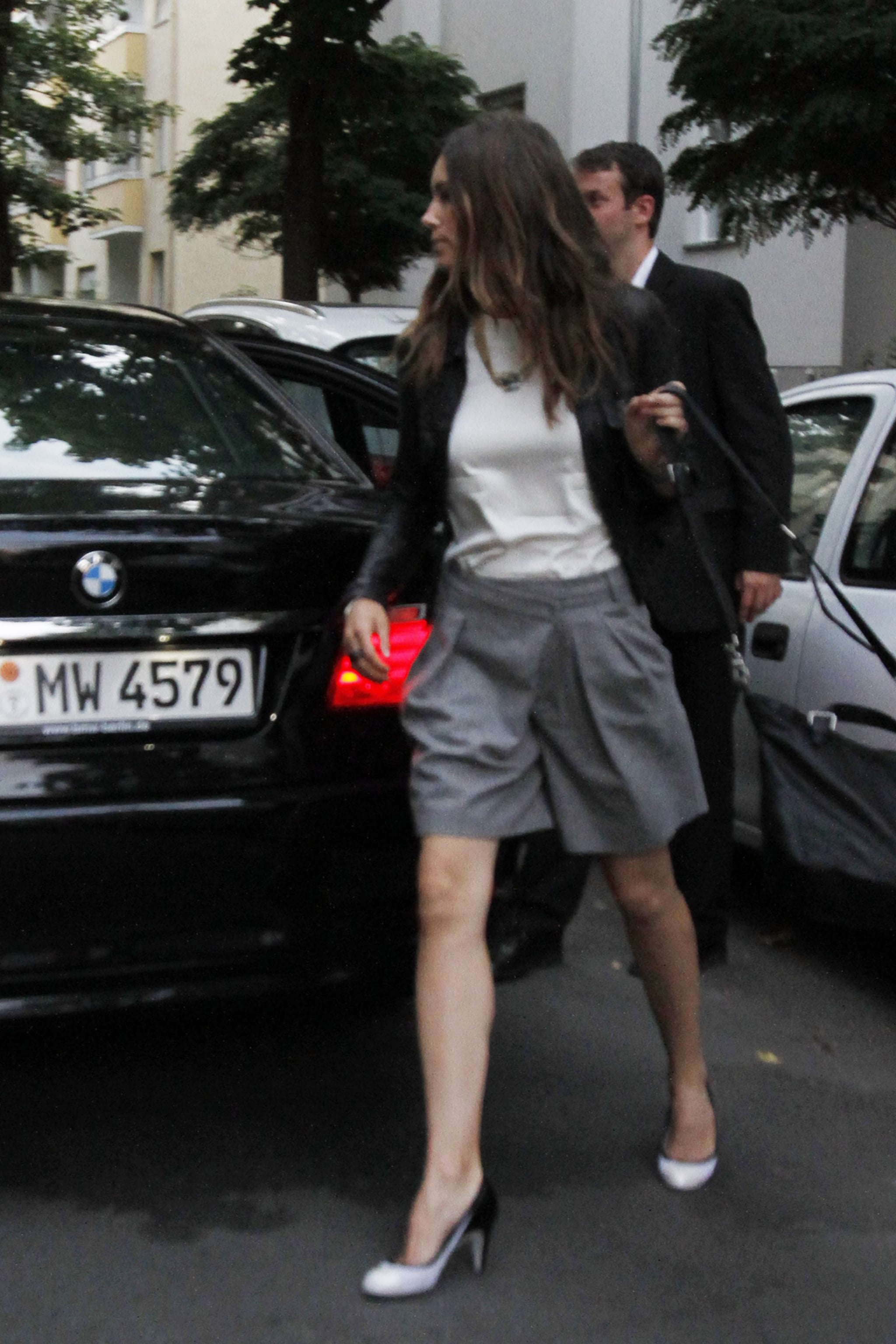 Another street shot, this time in funky gray shorts and black-and-white pumps.