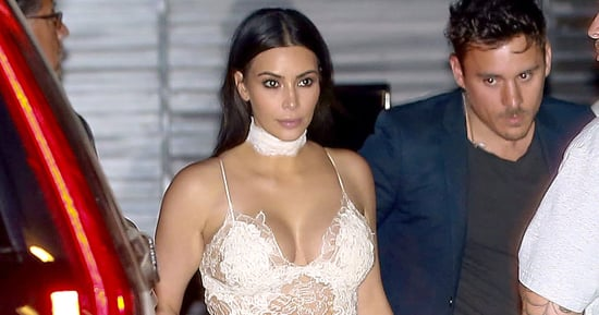 Kim Kardashian Wears a Sexy White Lace Slip Dress to Scott Disick's Birthday Party