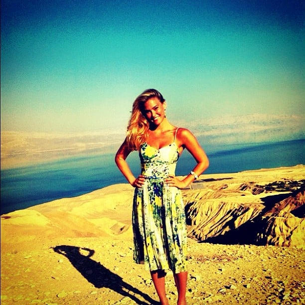 Bar Refaeli shared a photo from high above the Dead Sea.