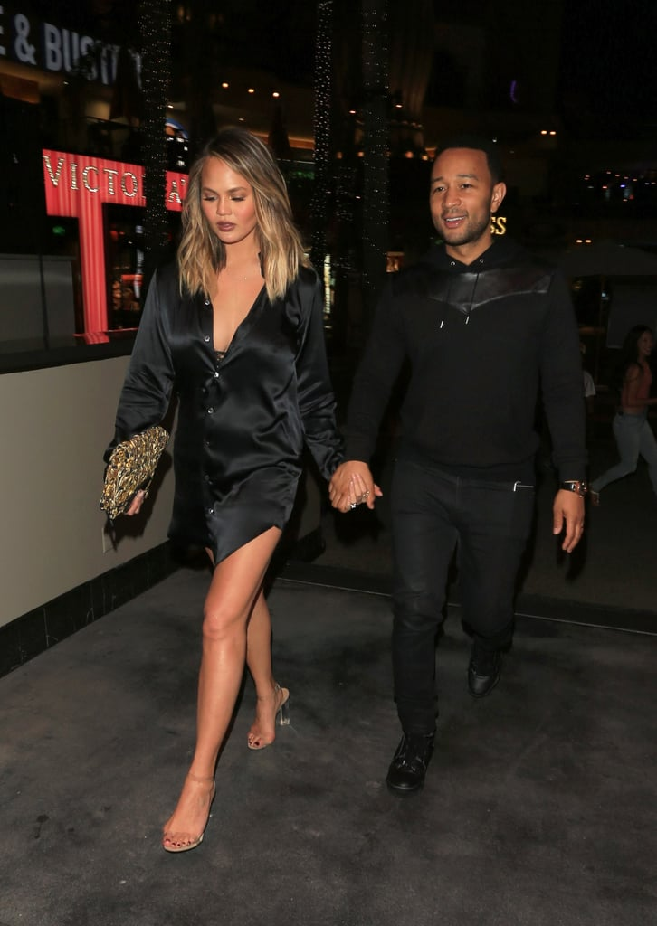 Chrissy Teigen Stepped Out in a Sexy Satin Shirtdress