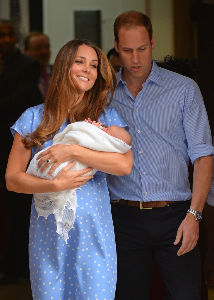 Catherine, Duchess of Cambridge smiled as she and Prince William stepped out of the hospital with their newborn son.