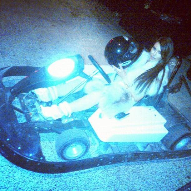 Kim Kardashian went for a spin on a go-kart. Source: Instagram user kimkardashian