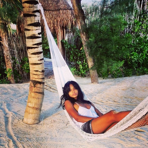 Chanel Iman relaxed in a hammock during a trip to Tulum, Mexico. Source: Twitter user chaneliman