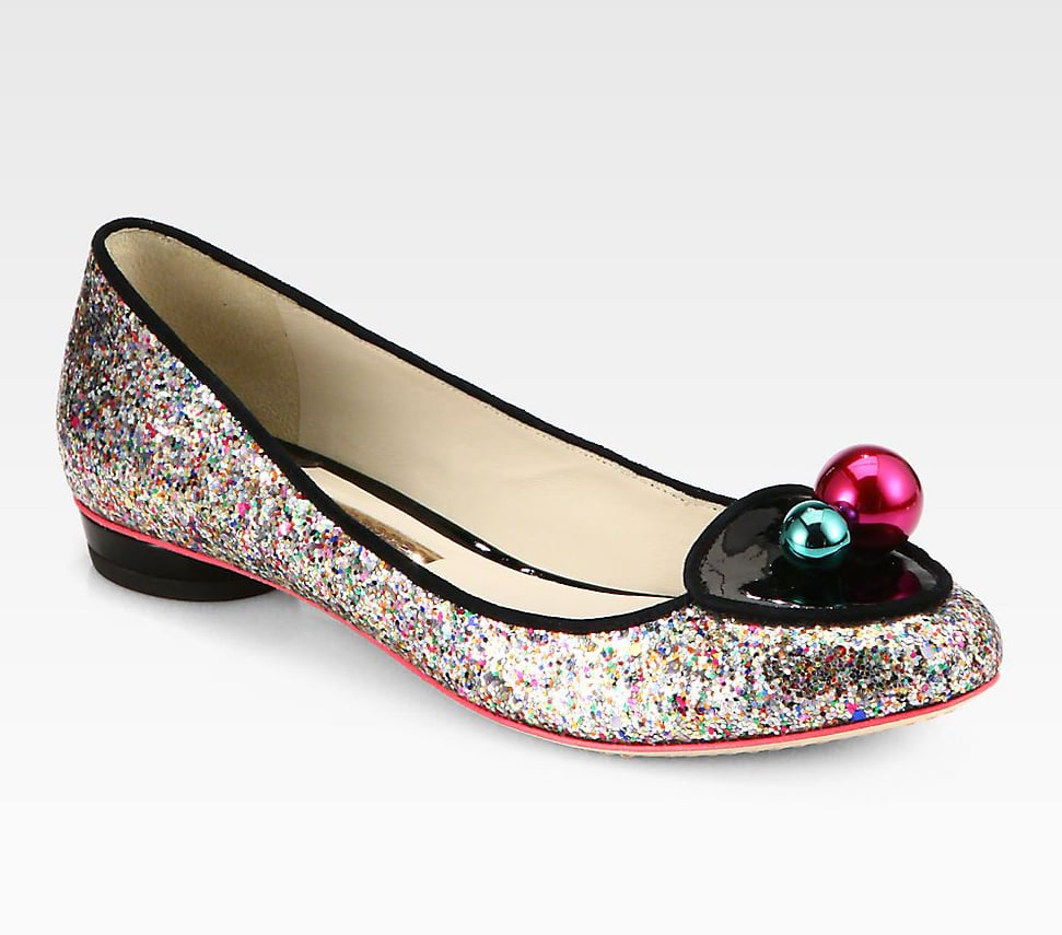 The sort that brings boundless energy to any get-together can consider herself properly shod in these Sophia Webster glitter slip-ons ($420).