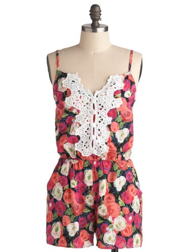 Slip on this adorable floral romper for your next park outing; the white eyelet detailing is such a cute touch.  ModCloth Factory Flowers Romper ($38)