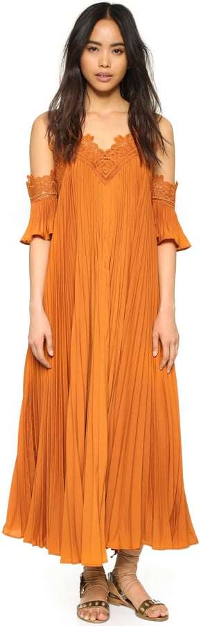 Self-Portrait Self Portrait Pleated Cold Shoulder Gown ($675)