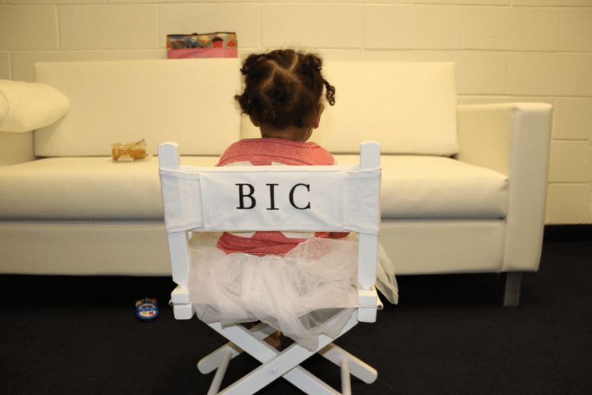 """Blue sat in her personalized """"BIC"""" chair backstage during Beyoncé's Mrs. Carter Show tour in May 2013. Source: Tumblr user Beyoncé"""