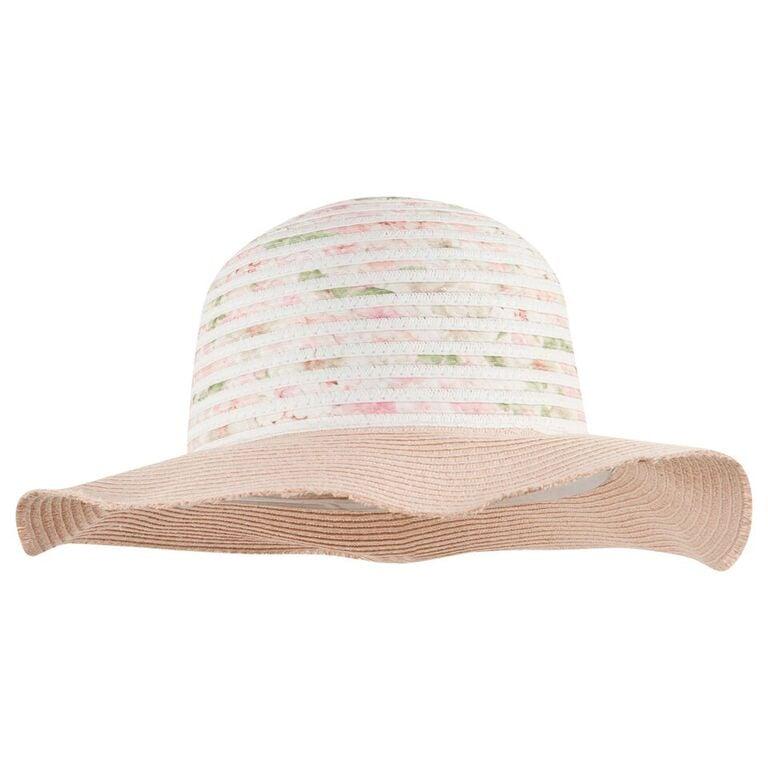 Floral Stripe Straw Hat