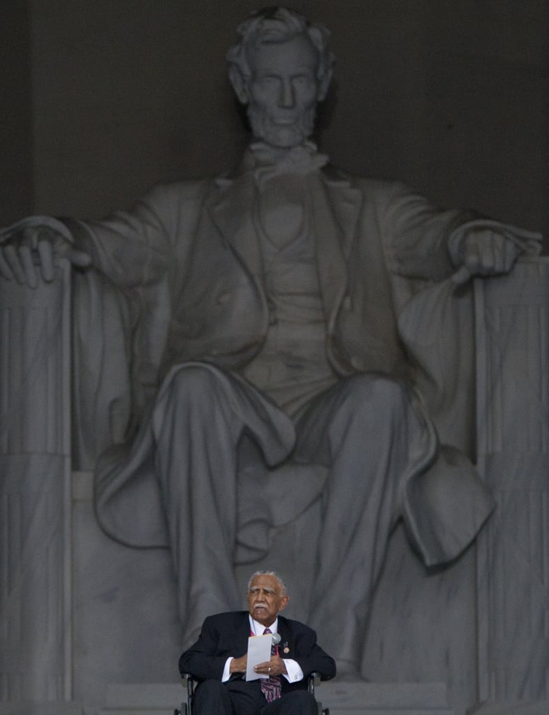 Civil rights activist Reverend Joseph Lowery spoke during the commemoration event at the Lincoln Memorial.