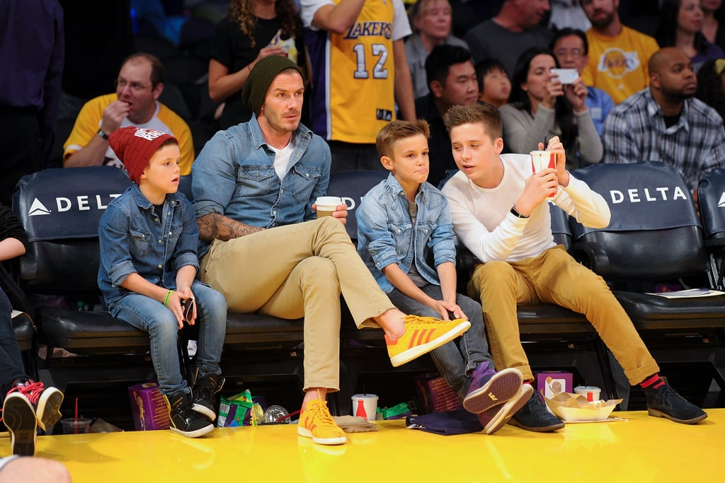 David Beckham took his boys to watch a Lakers game in November.