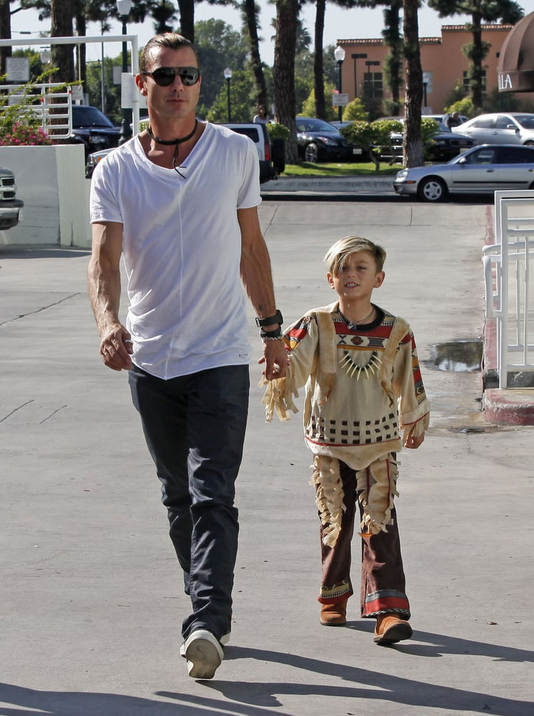 Kingston Rossdale was dressed up in his Halloween costume for an outing with dad Gavin Rossdale in LA.