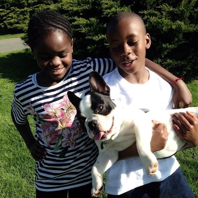 Madonna hung out with her kids Mercy and David and the family dog Olga.  Source: Instagram user madonna
