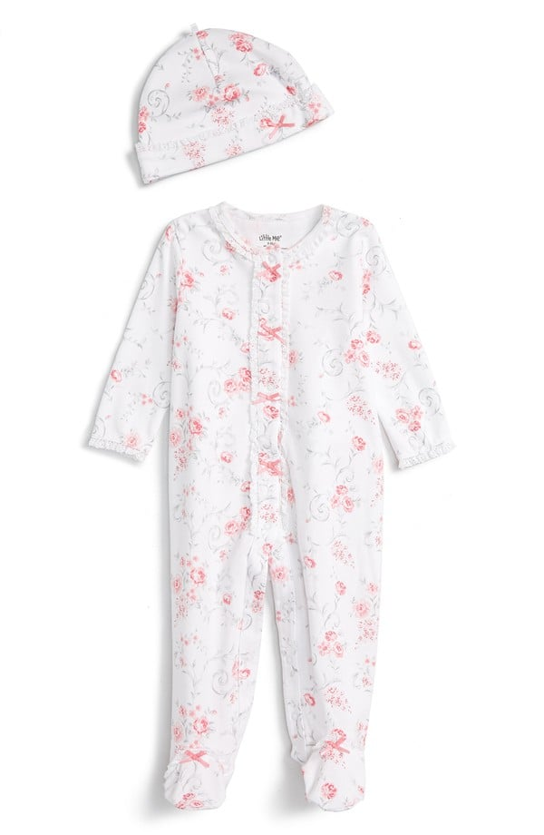 Little Me Rose Swirl Footie One-Piece and Hat