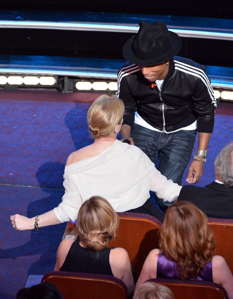 "Pharrell shimmied with Meryl Streep during his performance of ""Happy"" at the Oscars — making for one of the best GIFs of the night."
