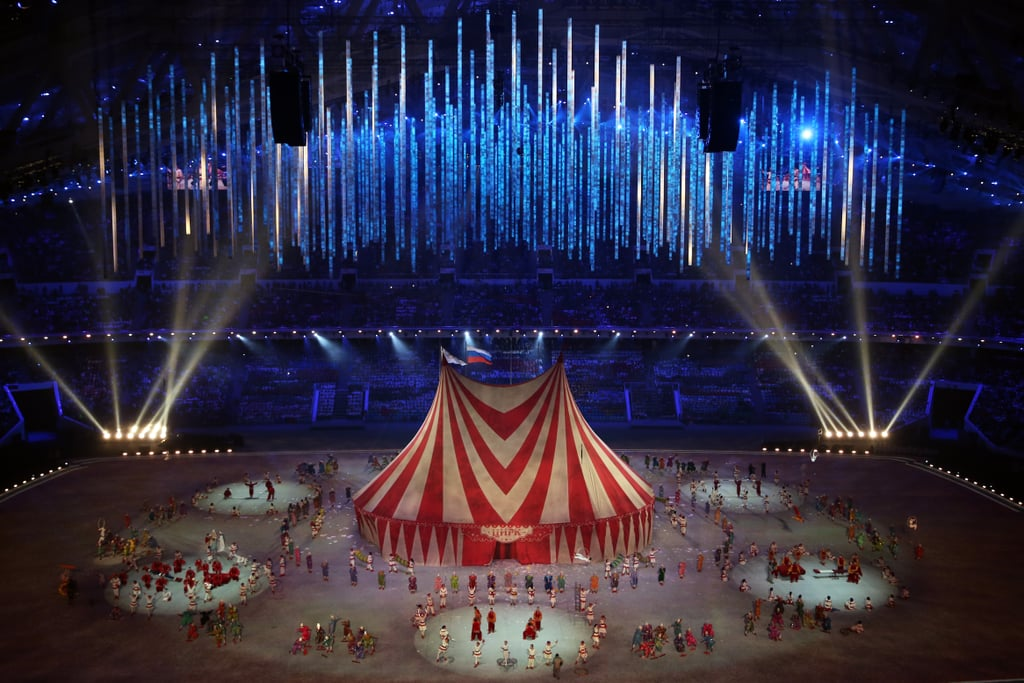 A giant red-and-white tent was brought in for a circus performance.