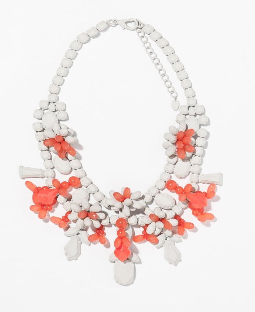 Zara white and coral painted rhinestone bib necklace ($36)