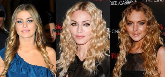 Celebrity Hair Trend Autumn Winter. Photos of Madonna, Lindsay Lohan and Carmen Electra With Tight Corkscrew Curls Middle Parts