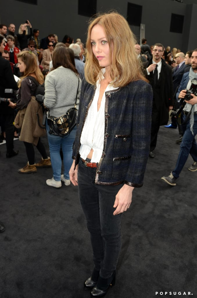 Vanessa Paradis wore a classic Chanel jacket to the Chanel show in Paris in March.